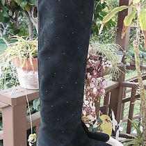 See by Chloe Micro Stud Knee High Black Leather Suede Boots Shoes Goth Sexy 40 Photo