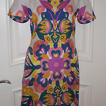 See by Chloe Multi-Color Floral Print Silk Short Sleeve Shift Dress Size 8 Photo