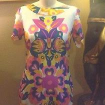 See by Chloe Multi-Color Floral Print Silk Short Sleeve Shift Dress Size 6 Photo