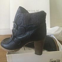 See by Chloe Real Leather Heels Brown Lace Up Boots W. Woolen Sleeve Sz 39/8.5 Photo