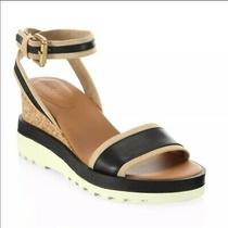 See by Chloe Robin Colorblock Wedge Sandals Shoes Size 9 Brown Black  Photo
