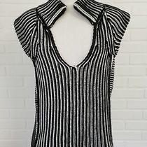 See by Chloe Short Sleeve Sweater Black White Size 6 Small  Photo