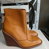See by Chloe Wedge Tan Leather Boots Sz 38 /7.5 Designer Booties Photo