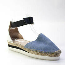 See by Chloe Womens Leather Ankle Strap Espadrille Shoes Blue White Size 38 8 Photo