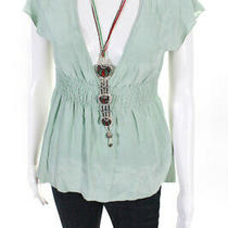 See by Chloe Womens Short Sleeve v Neck Built in Necklace Blouse Green Size 8 Photo