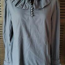 See by Chloe Woven Cotton Swiss Dot Romantic Ruffle Collar/cuff Blouse 6 Us Photo