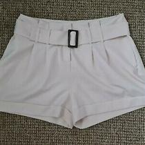 Select Champagne Blush Cream White Shorts Belt High Waisted Loose Fitted 14 M L Photo