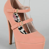 Select Color Nubuck Double Strap Mary-Jane Pumps Penelope-04 Photo