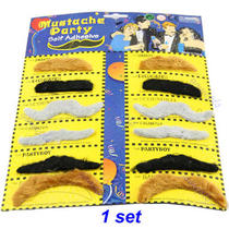 Self Adhesive Set of 12 Stylish Costume Fancy Party Fake Mustache Moustache Photo
