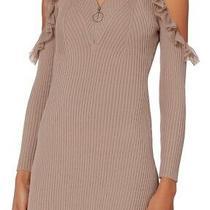Self Portrait Alina Knit Mini Dress Size S Small Blush Nude Ruffle 425 Retail Photo