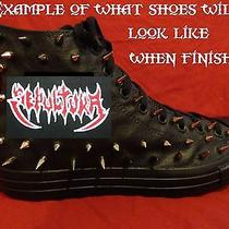 Sepultura Metal Punk Custom Studded Converse Chuck Shirt Sneakers Shoes W Spikes Photo