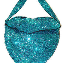 Sequin Beaded Heart Purse Bag Handle Turquoise Blue Aqua Photo