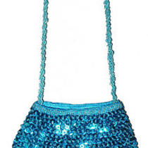 Sequin Beaded Purse Fringes Blue Turquoise Aqua Photo