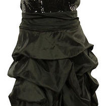 Sequined Empire Bubble Taffeta Strapless Dress (20w Black) Photo