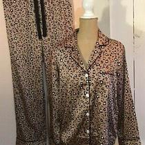 Serenedelicacy Blush Cherry Print Satin Pajama Set Button-Up/pull-on S Nwt   Photo