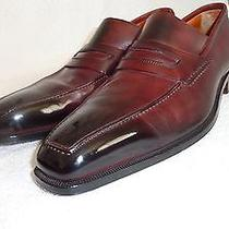 Sergio Rossi Antique Black/merlot Penny Loafers Mint Photo