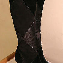Sergio Rossi Black Boots Leather Suede Velvet 8 Bead Club/stripper/exotic Dancer Photo