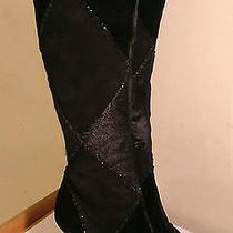 Sergio Rossi Black Boots Leather Suede Velvet 8 Bead Club/stripper/exotic Dancer Photo