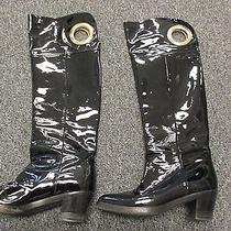 Sergio Rossi Black Shiny Patent Leather Knee High Fashion Boots Size 39 B1406 Photo