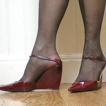 Sergio Rossi Burgundy(ruby) Patent Leather Wedge W/ Ankle Strap-Sz 38-Elegant Photo