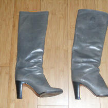 Sergio Rossi Leather Knee High Boots Size 35.5  U.s. 5  Olive Color Photo