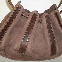Sergio Rossi Medium Choc Brown Vtg Suede Handbag Purse Shoulder Bag  Photo