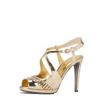 Sergio Rossi Metallic Leather Cut-Out Sandals - Gold 37.5 850 Photo
