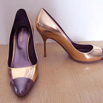 Sergio Rossi Metallic Mirror Rose Gold Gray Tip Pumps Shoes 37 Us 7-7.5 Photo