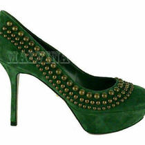 Sergio Rossi Shoes Studded Pumps Green Suede Leather High Heel 915 Sz 37 7 Photo