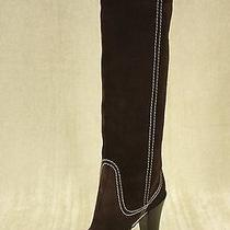 Sergio Rossi Tall Contrast Stich  Brown Suede Riding Boots Size 36 New Knee 870 Photo