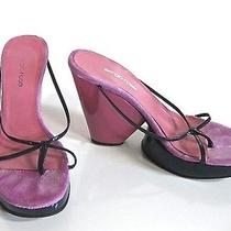 Sergio Rossi Two-Toned Sandal Slides W/ Wedge Heels Sz Us 8 Euro 38.5 Pink Blue Photo