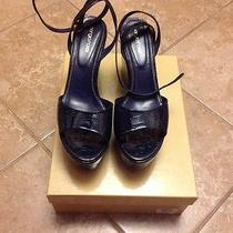 Sergio Rossi Wedge Platform Lacquered Leather Sandal Size 41 Photo