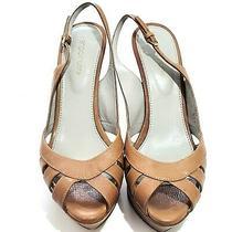Sergio Rossi Women's Sz Eu 37.5 us7.5 Tan Leather Slingback Peep Toe Heels Rare Photo