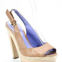 Sergio Rossi Womens Leather Peep Toe Slingback High Heel Pumps Brown Size Eur 37 Photo