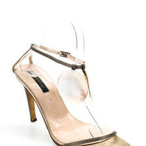 Sergio Rossi Womens Satin Mother of Pearl Sandals Gray Size 38.5 8.5 Photo