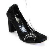 Sergio Rossi Womens Suede Star Applique Pumps Black Size 37.5 7.5 Ll19ll Photo