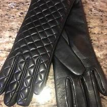 Sermoneta Soft Black Lamb Quilted Leather Gloves Italy Sz 7 New Photo