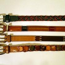 Set - 4 Leather Belts 2 Fossil St Johns Bay Woven Patchwork Vintage Look Euc Med Photo