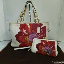 Set Coach Ltd Ed Poppy for Peace White Leather Red Floral Gallery Tote & Wallet Photo