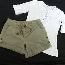 Set Euc Womens 6 Chino Gap Shorts 3 Adjustable Lengths & Small Forever 21 Top Photo