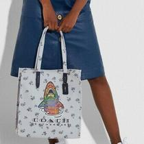 Set Nwt Coach Rainbow Signature Sharky Print Turnlock Pouch 26 and Canvas Tote  Photo