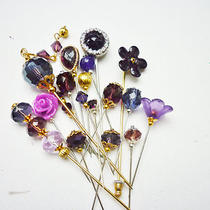 Set of 18 Purple Hue Pins 3 - 5cm Long Mix / Hijab Pins / Decorative Pins  Photo