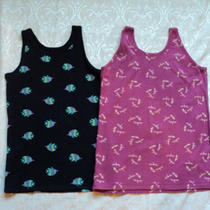 Set  of 2 Gap Kids Girls10-12 Pink Dragonfly & Blue Fish Print Tank Top Shirts Photo