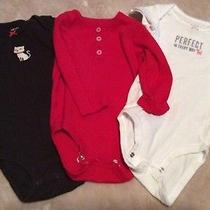 Set of 3 Baby Girl Onesies Like New Excellent Condition Red Brown Cat Kitty Photo