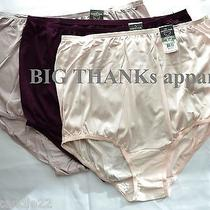 Set of 3 Vanity Fair 15712 Multi Color  Blush Fawn Purple Nylon Brief Panty 8/xl Photo