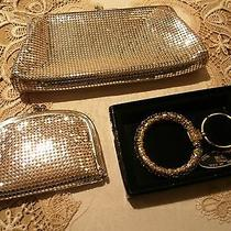 Set of 3 Whiting & Davis Silver Cosmetic Bag Key Ring in Box and Chain Purse  Photo
