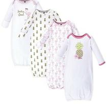 Set of 4 Hudson Baby Pineapple Flamingo Baby Gowns 0-6 Months Photo