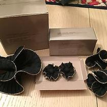Set of Avon Stylish Black & Gold Ruffle Pin/pierced Earrings/pair of Shoe Clips Photo