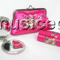 Set Pink Colors Jewelry Silk Mirror Bags Pouches Boxes Set T354a20 Photo