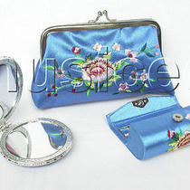 Set Sky Blue Colors Jewelry Silk Mirror Bags Pouches Boxes Set T357a20 Photo